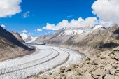 View of the Aletsch glacier on Mountains — Stock Photo