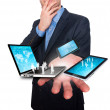 Businessman holds modern technology in hands - Stock Image — ストック写真 #64166109