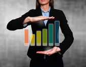 Businesswoman showing Growth graph. Success Work- Stock Image — Stock Photo