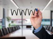 Businessman writing WWW for build his business. Stock Photo — Stok fotoğraf