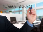 Businessman hand writing Human Resource in the air  - Stock Image — 图库照片