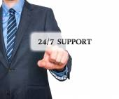 Businessman pointing at all day support  services. Internet online support business concept. Stock Image — Stock Photo