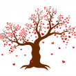 Vector illustration of decorative abstract tree with red hearts on white background — Stok Vektör #61963561