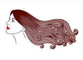 Illustration vectorielle de jeune fille avec de beaux cheveux — Vecteur