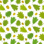 Бесшовный фон канадский дуб листья и жёлуди. — Cтоковый вектор