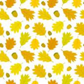 Seamless pattern of Canadian oak's leaves and acorns. Autumn background. — Stock Vector