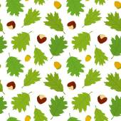 Seamless pattern of Canadian oak's leaves, acorns and chestnuts. — Stock Vector
