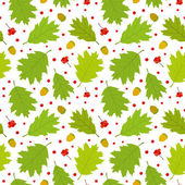 Seamless pattern of Canadian oak's leaves, acorns and rowan berries. — Stock Vector