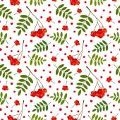 Seamless pattern with red and orange Rowan berries and leaves. Vector illustration. White background. — Stock Vector