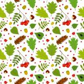 Forest seamless pattern with rowan berries, leaves, acorn, chestnut, pine cone, beetle. Vector set. White background. — Stock Vector