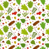 Forest seamless pattern with rowan berries, leaves, acorn, chestnut, pine cone. Vector set. White background. — Stock Vector