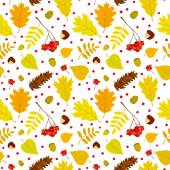 Autumn forest seamless pattern with rowan berries, leaves, acorn, chestnut, pine cone. Vector set. White background. — Stock Vector