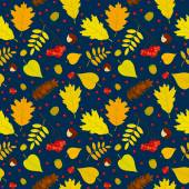 Autumn forest seamless pattern with rowan berries, leaves, acorn, chestnut, pine cone. Vector set. Dark blue background. — Stock Vector