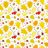 Autumn seamless pattern with rowan berries, leaves, acorn, chestnut. Vector set. White background. — Stock Vector