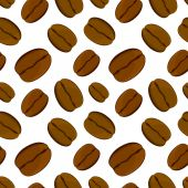 Coffee bean seamless pattern. Vector illustration. White background. — Stock Vector