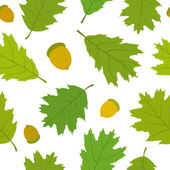 Seamless pattern of Canadian oak's leaves and acorns. — Stock Vector