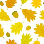 Seamless pattern of Canadian oak leaves and acorns. Autumn background. — Stock Vector