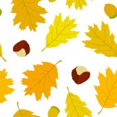 Seamless pattern of Canadian oak's leaves, acorns and chestnuts. Autumn background. — Stock Vector