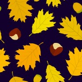 Seamless pattern of Canadian oak's leaves, acorns and chestnuts. Dark blue background. Autumn forest. — Stock Vector
