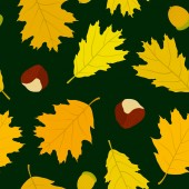 Seamless pattern of Canadian oak leaves, acorns and chestnuts. Dark green background. Autumn forest. — Stock Vector
