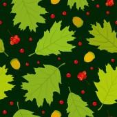 Seamless pattern of Canadian oak leaves, acorns and rowan berries. Dark green background. — Stock Vector