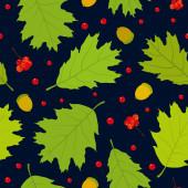 Seamless pattern of Canadian oak's leaves, acorns and rowan berries. Dark blue background. — Stock Vector