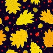 Autumn seamless pattern of Canadian oak's leaves, acorns and rowan berries. Dark blue background. — Stock Vector