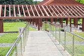 Wooden corridor structure — Stock Photo