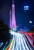 Long exposure of Guangzhou night traffic scene — Stock Photo