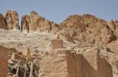 Chebika oasis in southern Tunisia. High temperatures in the desert and no water. — Stock Photo