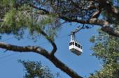 Unusual cable car backing off from Gibraltar. Travel and sightseeing. — Stock Photo