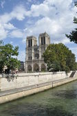 Cathedral, Notre Dam. The well-known church in Paris with gargoyles. — Foto Stock