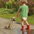 Boy, child in red rubber Wellingtons, talking with the puppy. Childhood in diapers. — Stock Photo #65486493