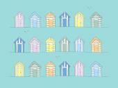Hand Drawn Beach Huts — Stock Vector