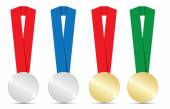 Gold and silver medals — Stock Vector