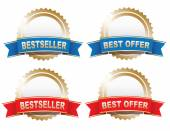 Bestseller and Best Offer Labels — Stock Vector