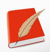 Red Book and feather — Stock Vector