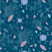 Seamless pattern with fishes and hearts — Stock Vector