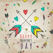 Valentine's Day Greeting Card with arrows and other holidays elements. Vector illustration. Set of arrows. Party Downloading — Stock Vector