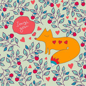 Valentine greeting card with fox. Fox and flowers ornament greeting card. — Stock Vector