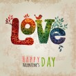 Valentine's Day greeting card on white background, vector illustration. Watercolor painted love. Element for your design. Floral alements — Stock Vector #64551851