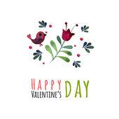 Walentynki kartkę z życzeniami na białym tle, ilustracji wektorowych. Akwarela, malowany ptak. Element projektu. Kwiatowy elementy — Wektor stockowy