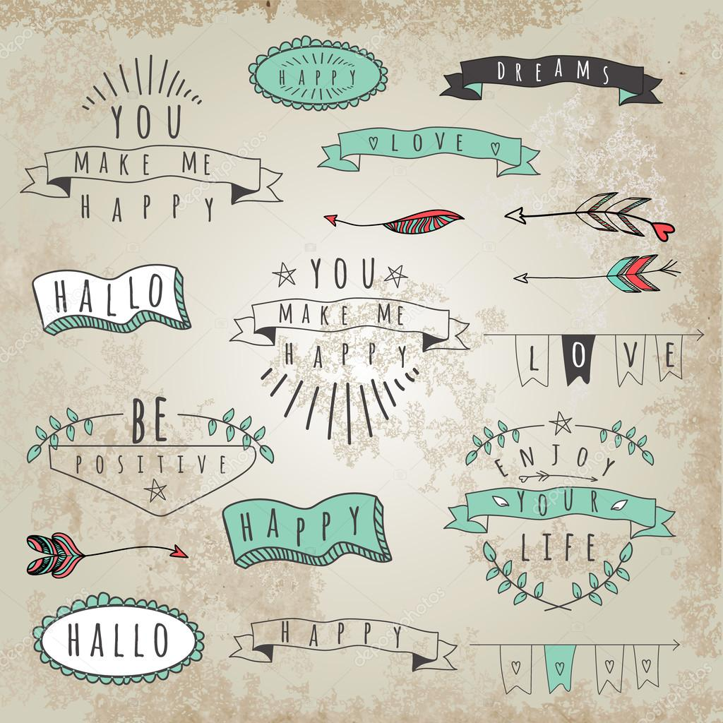 Collection of hipster style phrases. — Stock Vector
