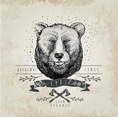 Vintage  Bear logo. — Stockvektor