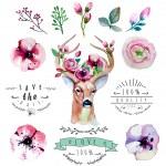 Постер, плакат: Floral set with deer