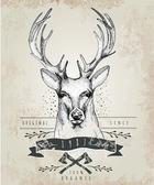 Deer head logo — Stock Vector