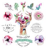 Floral sertie de cerf — Vecteur