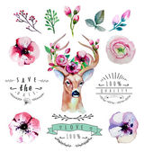 Blommig set med rådjur — Stockvektor