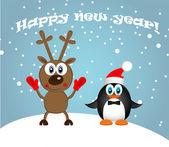 Merry Christmas Landscape. Vector  Happy New Year — Stock Vector