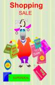 Shopping discounts.Goat with packets. — Stock Vector